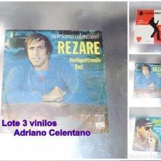 Discos de vinilo: ADRIANO CELENTANO --LOTE DE 3 VINILOS ---- VG +. Lote 213502668