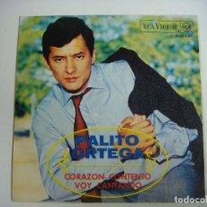 Discos de vinilo: DISCO DE VINILO SINGLES DE PALITO ORTEGA-CORAZON CONTENTO-VOY CANTANDO. Lote 213506823