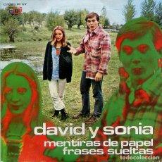 Discos de vinilo: DAVID Y SONIA / MENTIRAS DE PAPEL / FRASES SUELTAS (SINGLE TOP RECORDS 1973). Lote 213522131