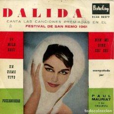 Discos de vinilo: DALIDA (FESTIVAL DE SAN REMO 1961) 24 MILA BACI / UN UOMO VIVO + 2 (EP 1961). Lote 213523175