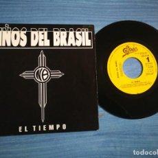 Discos de vinilo: NIÑOS DEL BRASIL EL TIEMPO SINGLE DE VINILO PROMOCIONAL BUNBURY HEROES DEL SILENCIO 1 TEMA RARO. Lote 213523957