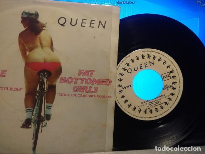 Discos de vinilo: SG QUEEN : BICYCLE RACE + FAT BOTTOMED GIRLS ( SPAIN PRESSING ) - Foto 3 - 213537011