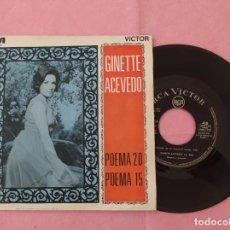 """Discos de vinilo: 7"""" GINETTE ACEVEDO – POEMA 20 / POEMA 15 - SPAIN PRESS PROMO (EX-/EX-). Lote 213538205"""