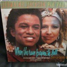 Discos de vinilo: JERMAINE JACKSON & PIA ZADORA – WHEN THE RAIN BEGINS TO FALL. Lote 213565382