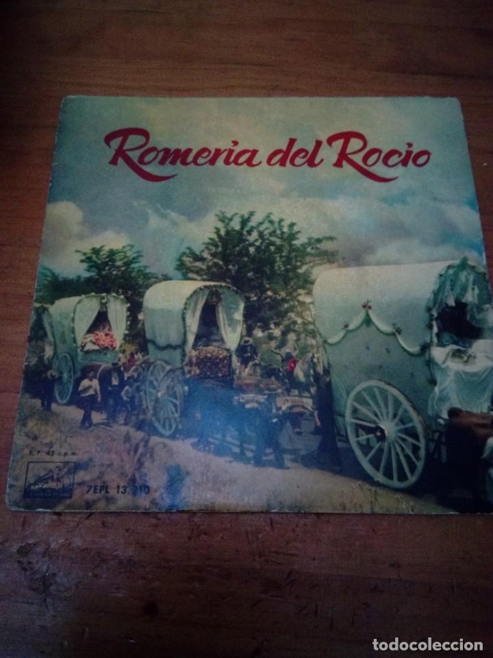 ROMERÍA DEL ROCIO. LA VOZ DE SU AMO. SEVILLANAS DEL TAMBORILERO. AIRES DE LOS ROMEROS... CRV (Música - Discos de Vinilo - EPs - Flamenco, Canción española y Cuplé)