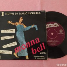 "Discos de vinilo: 7"" MONNA BELL - I FESTIVAL DE LA CANCIÓN ESPAÑOLA - UM TELEGRAMA 3 - PORTUGAL PRESS - EP (VG+/VG+). Lote 213606327"