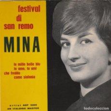 Discos de vinilo: 45 GIRI EP MINA CATA SANREMO 1961 LE MILLE BOLLE BLU' +3ARTIST AEP 1039 AN ITALDISC MASTER SCHWEDEN. Lote 213614152
