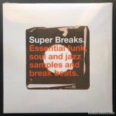 Discos de vinilo: SUPER BREAKS. ESSENTIAL FUNK, SOUL AND JAZZ SAMPLES 2×LP, UK PUBLICADO: 1999 PRECINTADO / SEALED. Lote 213683153