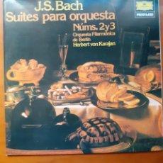 Discos de vinilo: BACH, SUITES PARA ORQUESTA 2 Y 3 KARAJAN + BACH TROMPETA, LOTE 2LPS. Lote 213725705