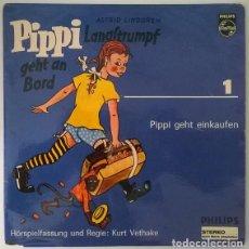 Discos de vinilo: ASTRID LINDGREN. PIPPI LANGSTRUMPF. GEHT AN BORD/ GET EINKAUFEN. PHILIPS, GERMANY 1965 EP. Lote 213743800