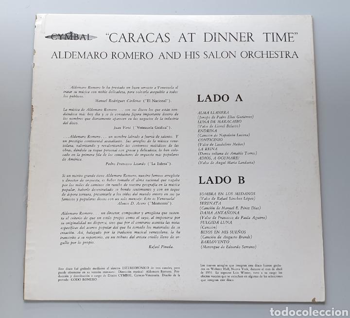 Discos de vinilo: LP ALDEMARO ROMERO & HIS SALON ORCHESTRA - Caracas at dinner time (Venezuela - Cymbal - 1959) NUEVO! - Foto 2 - 213750791