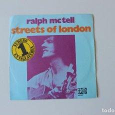 Discos de vinilo: RALPH MCTELL, SINGLE STREETS OF LONDON, PROMOCIONAL 1973 BELTER. Lote 213756902
