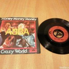 Discos de vinilo: ABBA. MONEY, MONEY, MONEY. CRAZY WORLD.. Lote 213759503