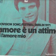 Discos de vinilo: 45 GIRI MASSIMO RANIERI L'AMORE E' UN 'ATTIMO CBS DUBLIN 1971 COVER USED SPAMA OLANDESE VGVG. Lote 213759857