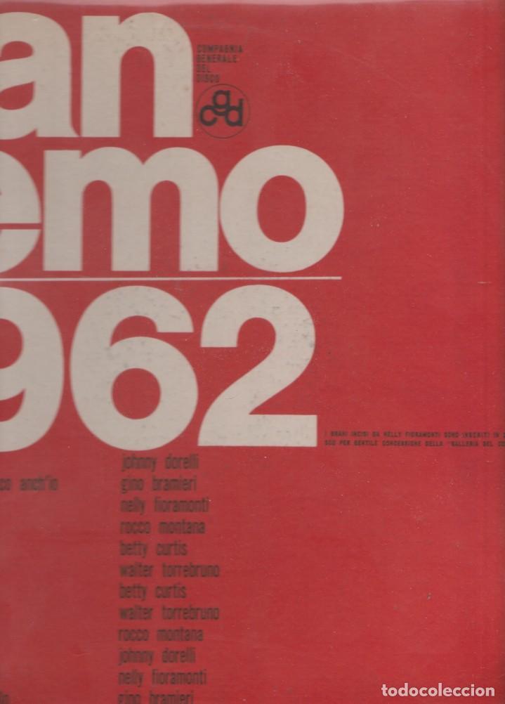 LP FESTIVAL DI SANREMO SANREMO 1962 CGD ITALY COVER COSTATA APERTA COVER USED VINILE BUONO (Música - Discos de Vinilo - Maxi Singles - Otros Festivales de la Canción)