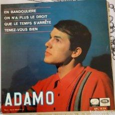 Discos de vinilo: EP / ADAMO EN BANDOULIERE / ON N´A PLUS LE DROIT / QUE LE TEMPS S´ARRETE 1966. Lote 213766288