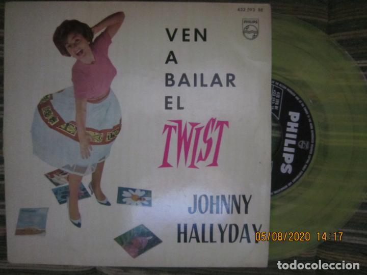 JOHNNY HALLYDAY - VEN A BAILAR EL TWIST E.P. VINILO AMARILLO ORIGINAL ESPAÑOLA 1961 - DIFICIL (Música - Discos de Vinilo - EPs - Rock & Roll)