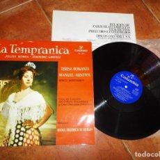 Discos de vinilo: LA TEMPRANICA JULIAN ROMEA JERONIMO GIMENEZ LP VINILO DEL AÑO 1961 ESPAÑA CON ENCARTE 6 TEMAS. Lote 213808271