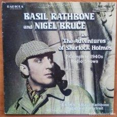 Discos de vinilo: THE ADVENTURES OF SHERLOCK HOLMES - BASIL RATHBONE AND NIGEL BRUCE - LP RADIO SHOWS. Lote 213813726