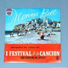Discos de vinilo: VINILO LP DE MONNA BELL: INTERPRETA LOS ÉXITOS DEL I FESTIVAL DE LA CANCIÓN. BENIDORM, 1959.. Lote 213819401