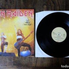 Discos de vinilo: IRON MAIDEN RUNNING FREE LIVE MAXI SINGLE RPM 45. Lote 213906782