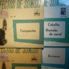 Discos de vinilo: 5 SINGLES - EMI - EFECTOS DE SONIDO - ANIMALES, AVIONES, TRENES, DEPORTES, TRANSPORTES. Lote 213961311
