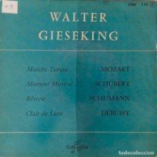 Discos de vinilo: WALTER GIESEKING. MZART. SCHUBERT .SHUMANN. DEBUSSY. EP FRANCIA.. Lote 213994846