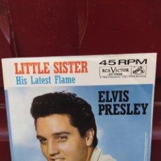 Discos de vinilo: ELVIS PRESLEY - HIS LATEST FLAME. SINGLE VINILO COLOR ROJO. EDICION USA. PERFECTO ESTADO - RARO -. Lote 213999398