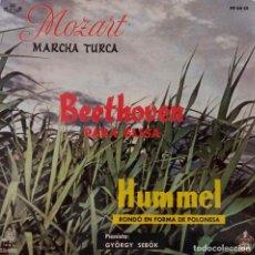 Discos de vinilo: BEETHOVEN. PARA ELISA. MOZART. MARCHA TURKA. HUMMEL. RONDO. GYÖRGY SEBÓK. EP ESPAÑA. Lote 214007572