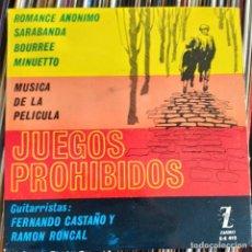 """Discos de vinilo: JUEGOS PROHIBIDOS (7"""", EP) (ZAFIRO) Z-E 412 (D:VG++). Lote 214010138"""