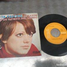 Disques de vinyle: RITA PAVONE CORAZON/ QUE ME IMPORTA DEL MUNDO- SINGLE RCA 1980. Lote 214017073