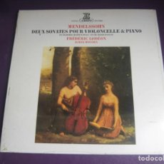 Discos de vinilo: MENDELSSOHN - DEUX SONATES POUR VIOLONCELLE & PIANO - LP ERATO 1976 PRECINTADO - CLASICA ROMANTICA. Lote 214029323