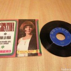 Discos de vinilo: CRISTINA. VIVE LA VIDA. EL EXTRAÑO DEL PELO LARGO.. Lote 214067543