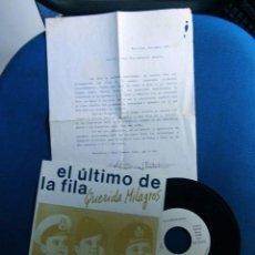 Discos de vinilo: EL ULTIMO DE LA FILA MANOLO GARCIA QUIMI PORTET SINGLE HOJA PROMOCION ORIGINAL EPOCA. Lote 214098925