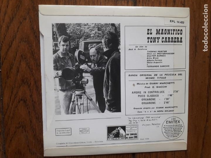 Discos de vinilo: Gianni marchetti - el magnífico tony carrera - amore in contraluce + psico clasico + organone + orga - Foto 2 - 214182153