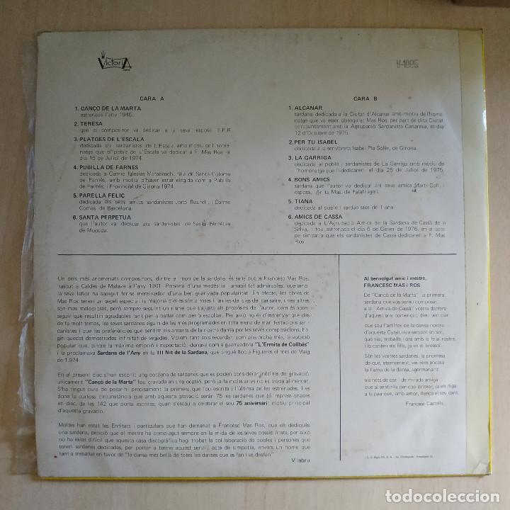 Discos de vinilo: Cobla Marina de Lloret de Mar - 75 Aniversari del compositor F. Mas Ros LP sello Victoria del 1976 - Foto 2 - 214214476