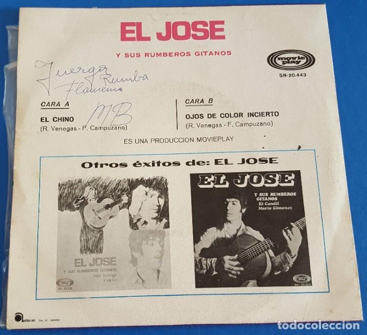 Discos de vinilo: SINGLE / EL JOSÉ Y SUS RUMBEROS GITANOS / EL CHINO - OJOS DE COLOR INCIERTO / MOVIEPLAY 1970 - Foto 2 - 214225742