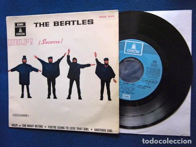 BEATLES SINGLE EP RE EDICION LABEL AZUL CIELO BANDA SONORA PELICULA SOCORRO EMI ODEON ESPAÑA (Música - Discos de Vinilo - EPs - Pop - Rock Extranjero de los 70)