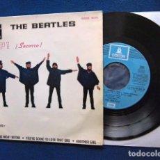 Discos de vinilo: BEATLES SINGLE EP RE EDICION LABEL AZUL CIELO BANDA SONORA PELICULA SOCORRO EMI ODEON ESPAÑA. Lote 214264230