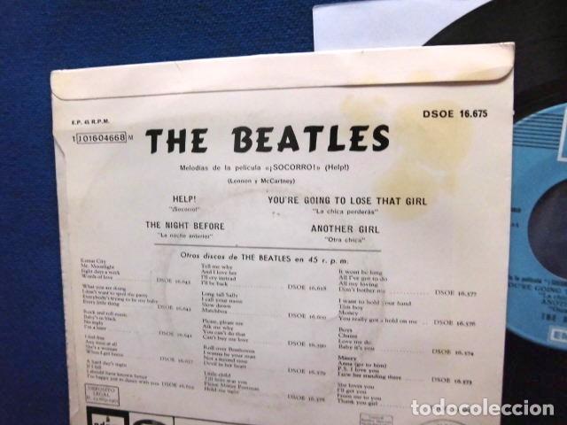 Discos de vinilo: BEATLES SINGLE EP RE EDICION LABEL AZUL CIELO BANDA SONORA PELICULA SOCORRO EMI ODEON ESPAÑA - Foto 5 - 214264230