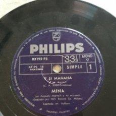 Discos de vinilo: MINA: SINGLE EDICION ARGENTINA MUY RARO OPORTUNIDAD COLECCIONISTAS MUSICA ITALIA. Lote 214283997