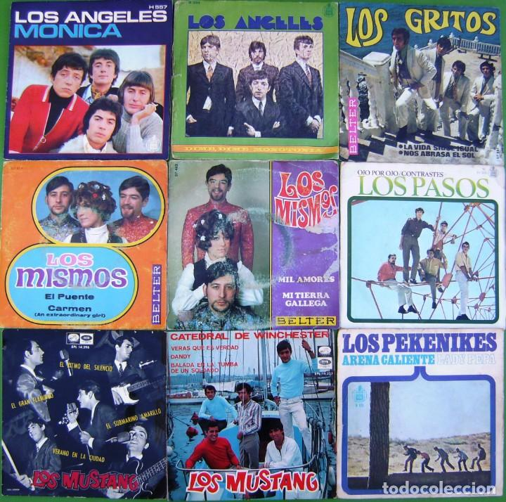 LOTE 9 SINGLES: LOS ÁNGELES, PASOS, MISMOS, MUSTANG, GRITOS, PEKENIKES (Música - Discos - Singles Vinilo - Grupos Españoles 50 y 60)