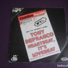 Discos de vinilo: THE DEFRANCO FAMILY – HEARTBEAT, IT'S LOVEBEAT +1 - SG MOVIEPLAY 1973 - POP 70'S - VINILO SIN USO. Lote 214417080