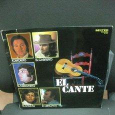 Discos de vinilo: EL CANTE. FOSFORITO - EL CABRERO - EL TURRONERO - EL CHOZAS -EL LEBRIJANO. LP BELTER.. Lote 214418615