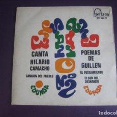 Dischi in vinile: HILARIO CAMACHO – ENSAYO Nº 2 EP FONTANA 1968 - POEMAS DE GUILLEN - CON ENCARTE - FOLK 60'S. Lote 214431627