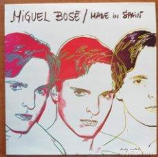 Discos de vinilo: MIGUEL BOSÉ - MADE IN SPAIN LP RARA EDICION 1992 LABEL ROJO ARTWORK ANDY WARHOL. Lote 214442735