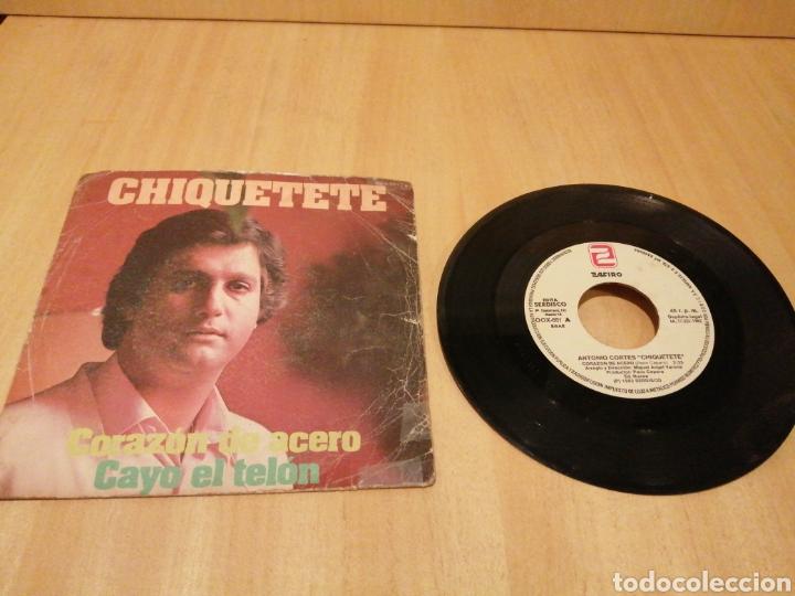 CHIQUETETE. CORAZÓN DE ACERO. CAYO EL TELÓN. (Música - Discos - Singles Vinilo - Solistas Españoles de los 70 a la actualidad)