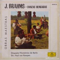 Discos de vinilo: J. BRAHMS. DANZAS HUNGARAS. ORQUESTA FILARMONICA BERLIN. PAUL VAN KEMPEN. EP ESPAÑA. Lote 214471332