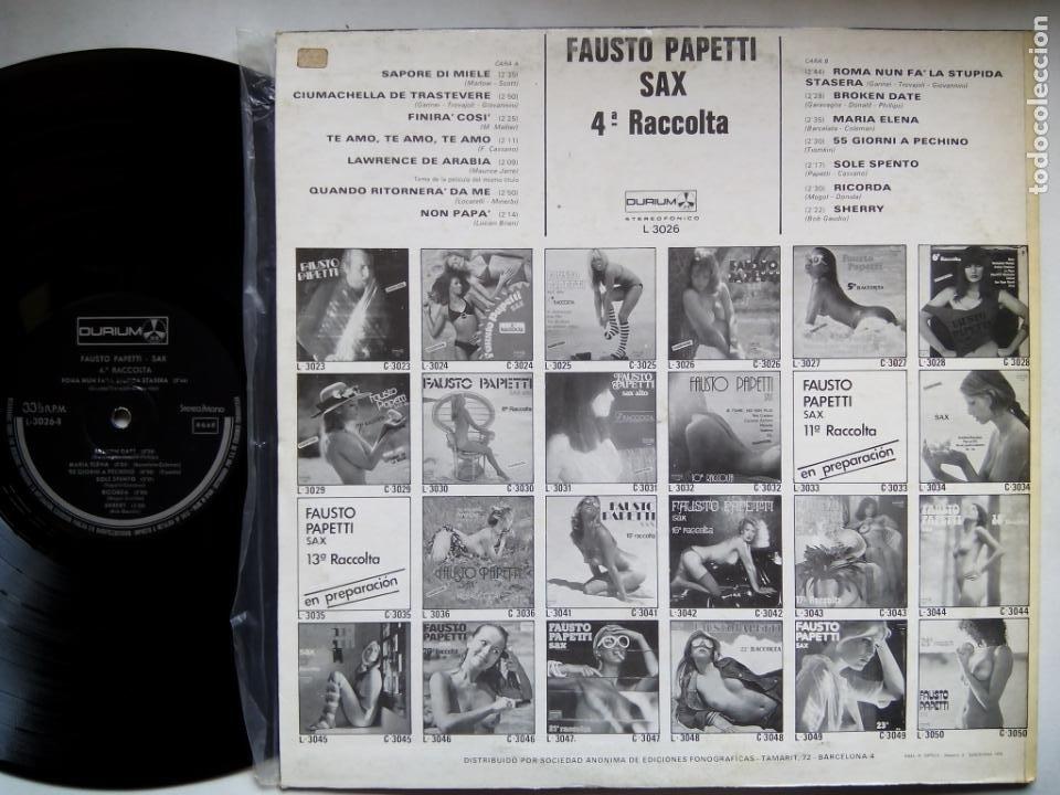 Discos de vinilo: FAUSTO PAPETTI SAX. 4ª RACCOLTA. LP DURIUM L-3026. ESPAÑA 1978. NUDE COVER. - Foto 2 - 214480638