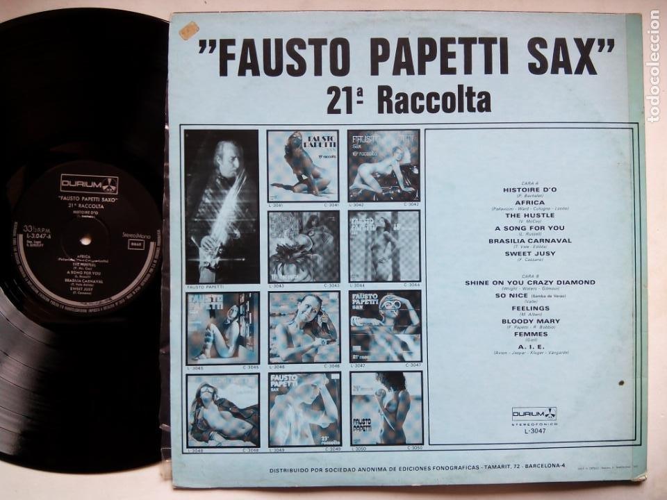 Discos de vinilo: FAUSTO PAPETTI SAX. 21ª RACCOLTA. LP DURIUM L-3047. ESPAÑA 1977. NUDE COVER CENSURADA. - Foto 2 - 214483238